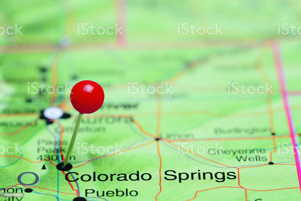 Colorado Springs pinned on a map of USA stock photo