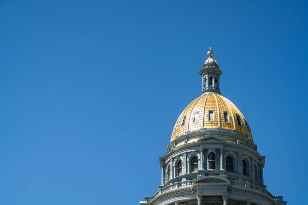 colorado state capital building gold top and blue sky - colorado state capitol stock photos and pictures