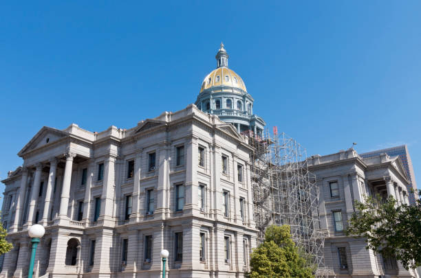 colorado state capitol and gold dome - colorado state capitol stock photos and pictures