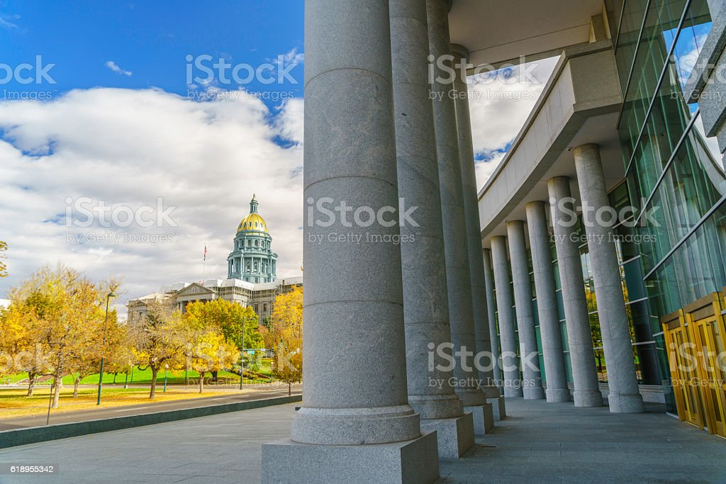 Colorado State Capitol and municipal court Colorado state capitol view from municipal court in autumn Architectural Column Stock Photo