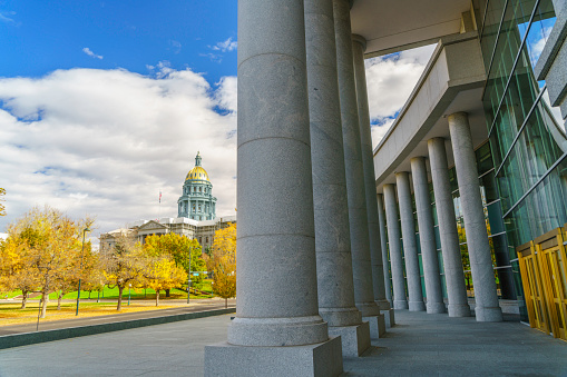 Colorado state capitol view from municipal court in autumn