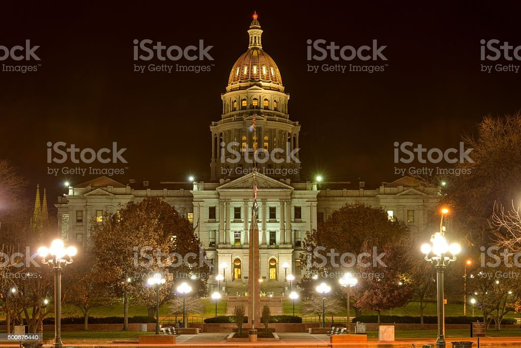 Colorado State Capitol at Night stock photo
