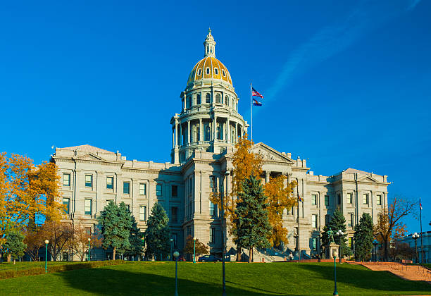 colorado state capitol building in autumn - colorado state capitol stock photos and pictures