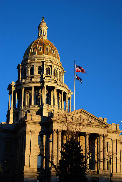 colorado state capitol building with gold dome - colorado state capitol stock photos and pictures