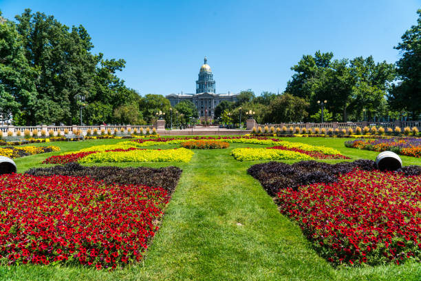 colorado state capitol park summer flowers - colorado state capitol stock photos and pictures