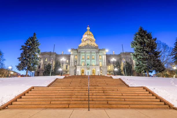 Colorado State Capitol Denver, Colorado, USA at the Colorado State Capitol during a winters night. capital cities stock pictures, royalty-free photos & images