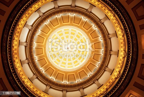 An image, taken directly below the ornate dome of the Colorado State Capitol building in Denver.