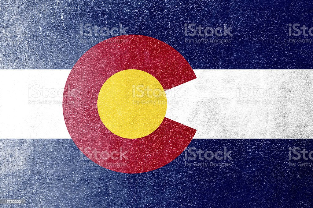 Colorado State Flag painted on leather texture stock photo