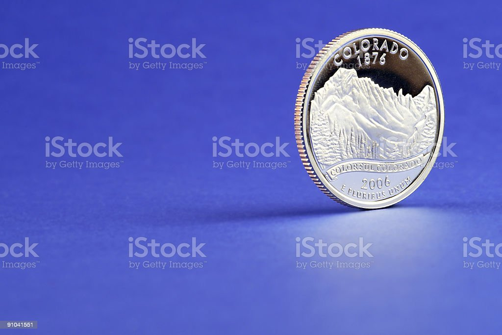 Colorado State Quarter 2006 Coin Blue Background stock photo