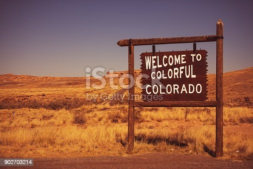 Colorado State Welcome Sign. Wooden Entrance Sign in Southwestern Corner of the Colorado Bordering Arizona.