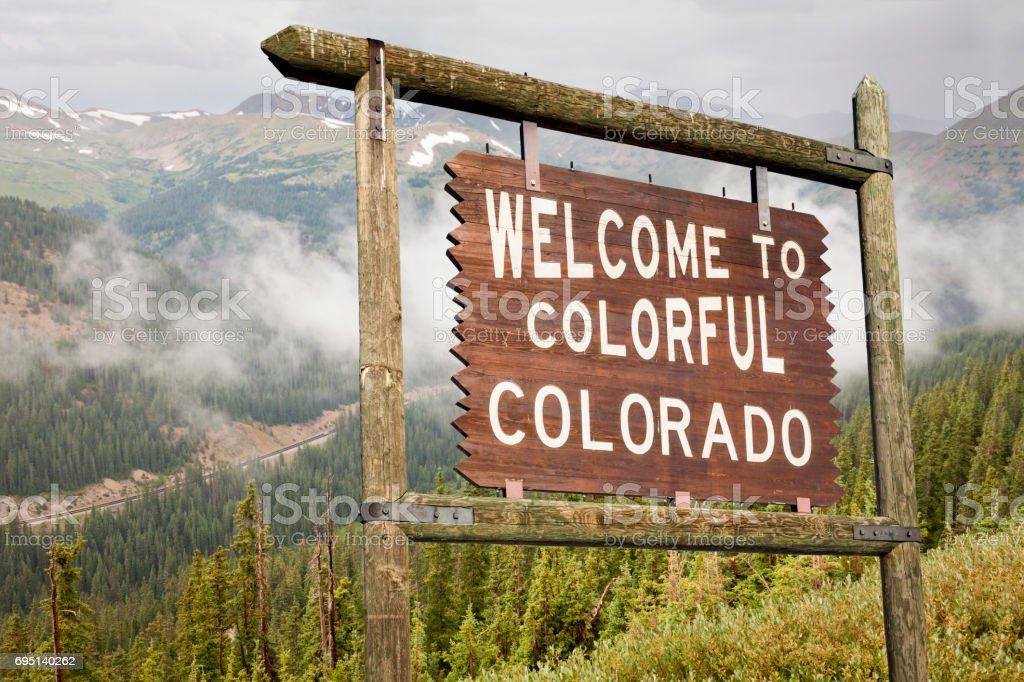 Colorado welcome road sign stock photo
