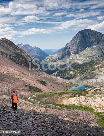 Teenage girl hikes in dramatic scenery of the Weminuche WIlderness of the San Juan Mountains, Colorado, USA