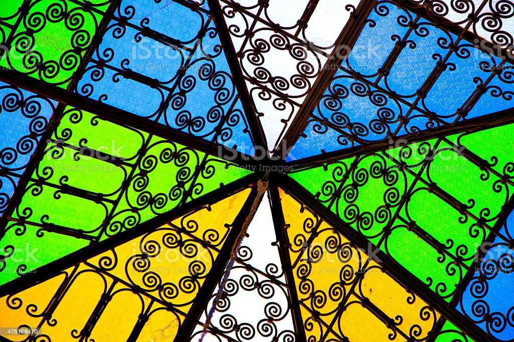 colorated glass and sun stock photo
