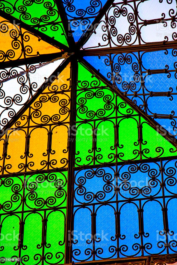 colorated   sun in morocco africa window and light stock photo