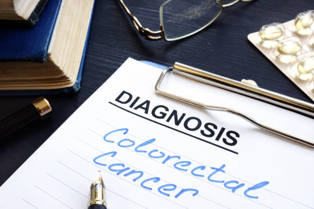 Colorectal cancer written in medical documents. stock photo