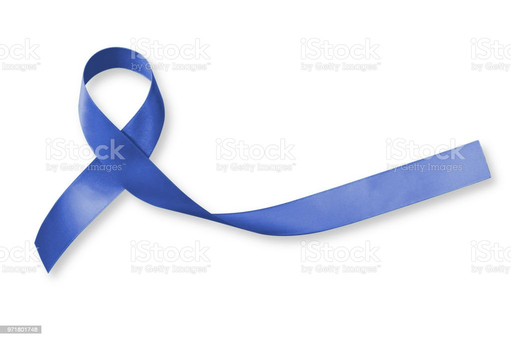 Colorectal/ Colon cancer, Acute Respiratory Distress Syndrome (ARDS), and Tuberous Sclerosis awareness symbolic with dark blue ribbon with dark blue ribbon on white background with clipping path stock photo