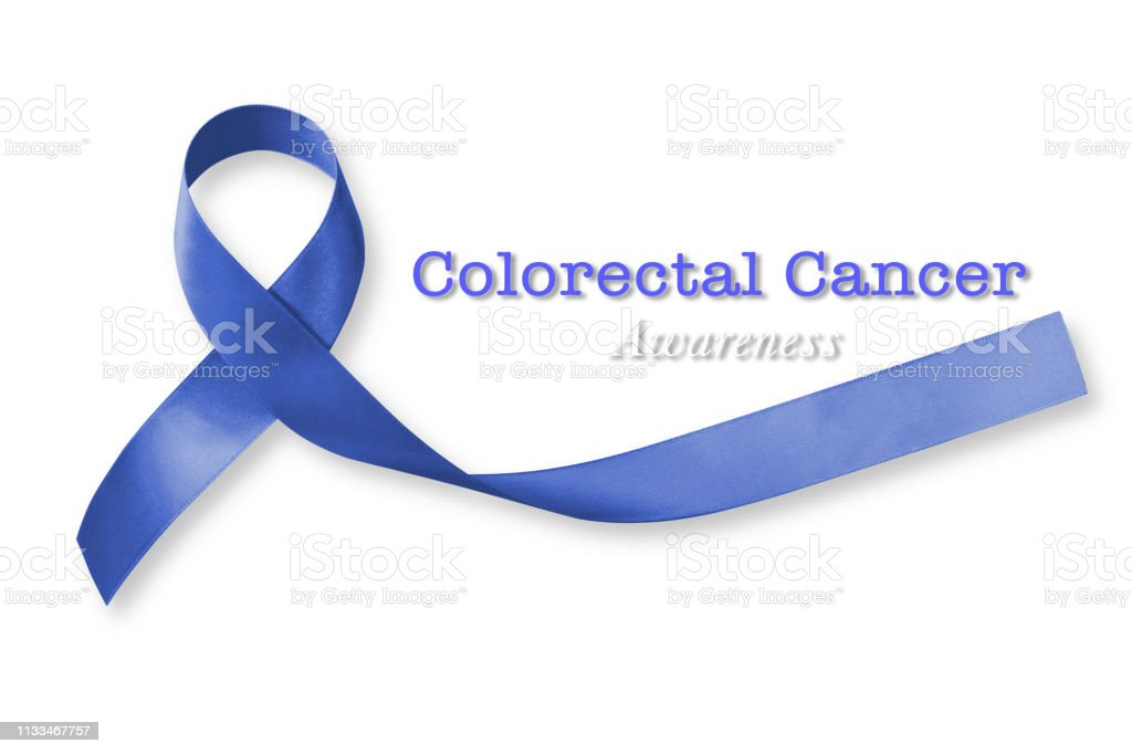 Colorectal Colon Cancer Awareness With Dark Blue Ribbon On White Background With Clipping Path Stock Photo Download Image Now Istock