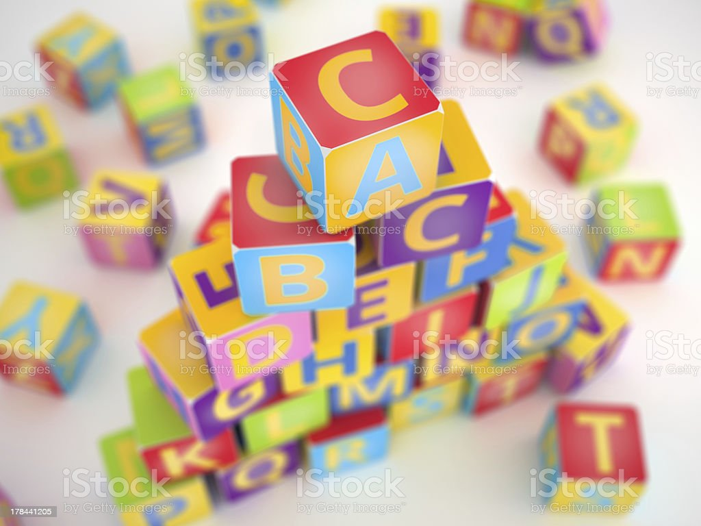 Colored A,B,C cubes pyramide royalty-free stock photo