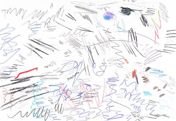 farbige abstrakte scribble by pen, linien von tinte, zufällige skizzen als hintergrund oder textur auf weißem papier - scribble stock-fotos und bilder