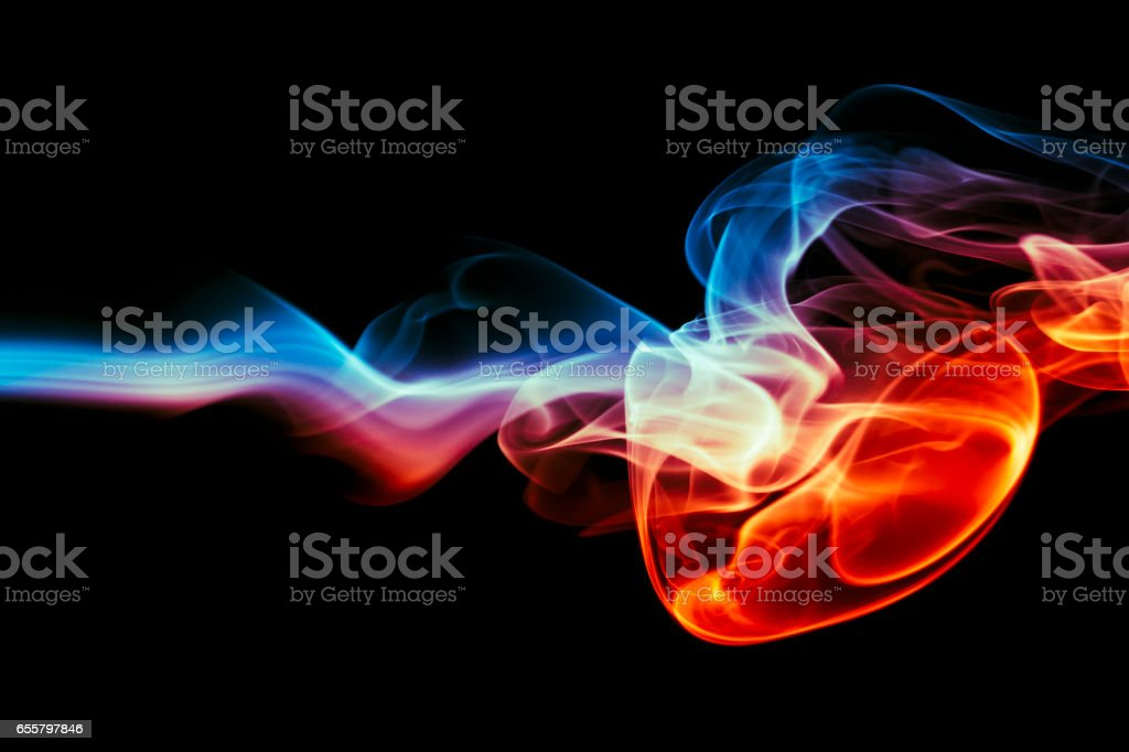 Colored abstract smoke . Heart Shape stock photo