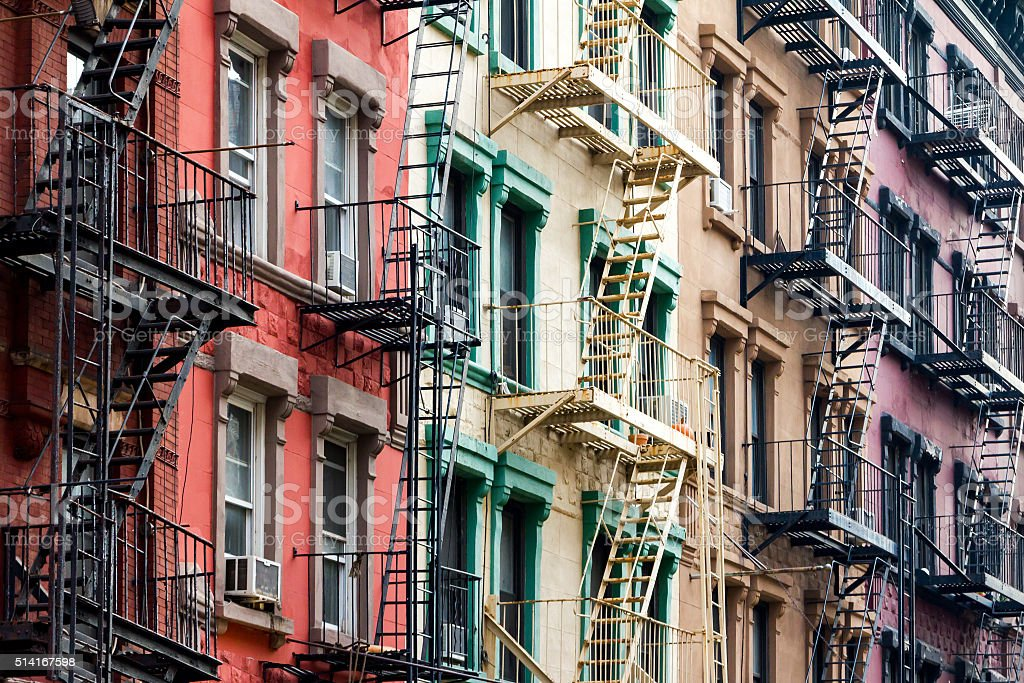 Colored Apartment Buildings in New York City stock photo