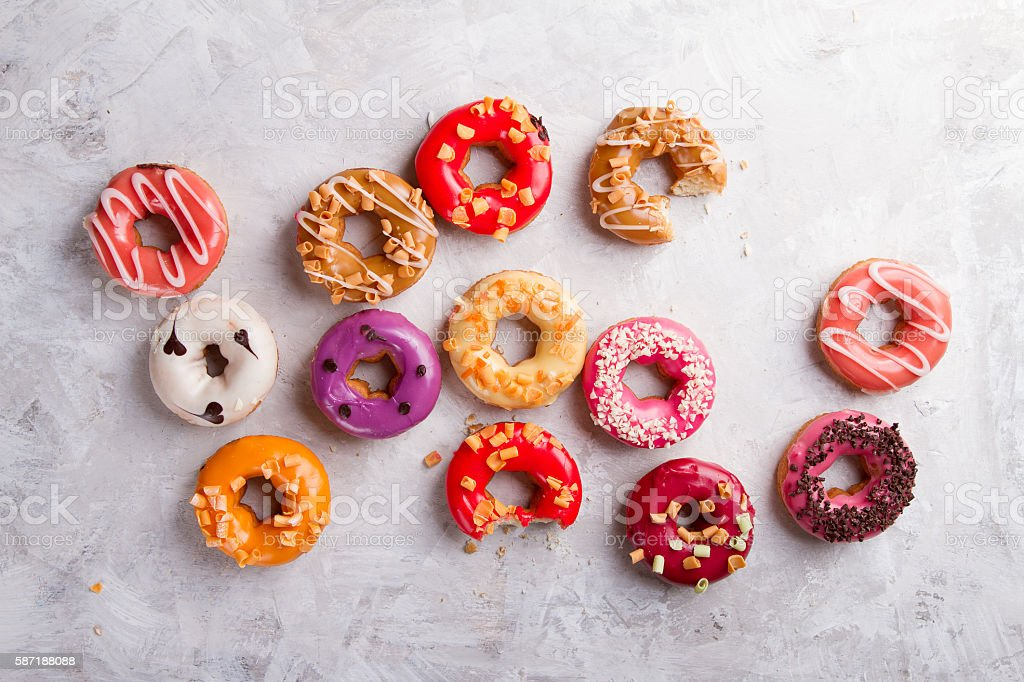 Colored assorted donuts stock photo