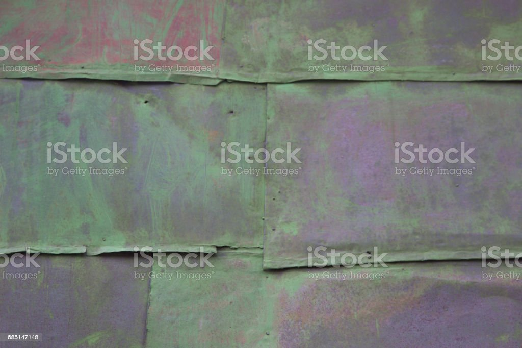 colored background. old rusty green metal surface. texture of cracks royalty-free stock photo