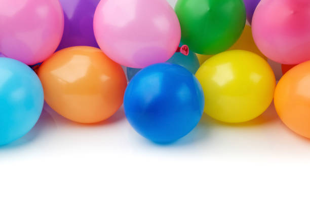 colored balloons on white background stock photo