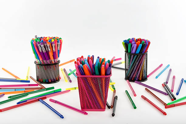 colored ballpoint pen and pencil stock photo