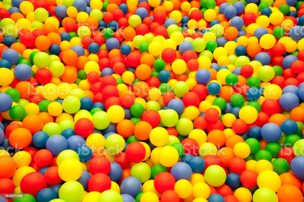 Colored balls from children's ball pit stock photo
