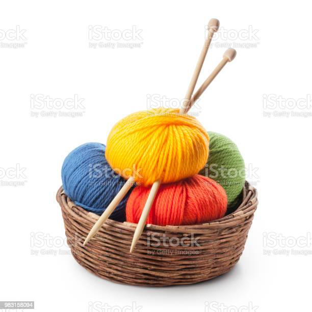 Colored balls of wool with knitting needles in basket picture id983158094?b=1&k=6&m=983158094&s=612x612&h=vgj1m75f aacd2sy8auf27 csrobu8qi13vgimmus i=