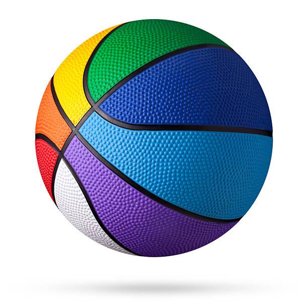 colored basketball. - basketbal bal stockfoto's en -beelden