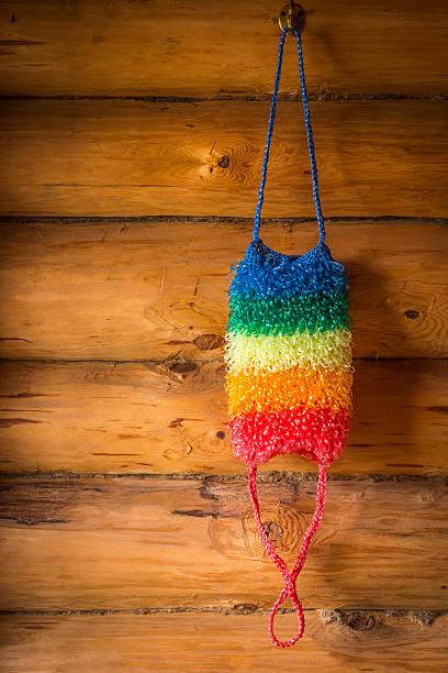 colored bath sponge - peeling zu hause machen stock-fotos und bilder