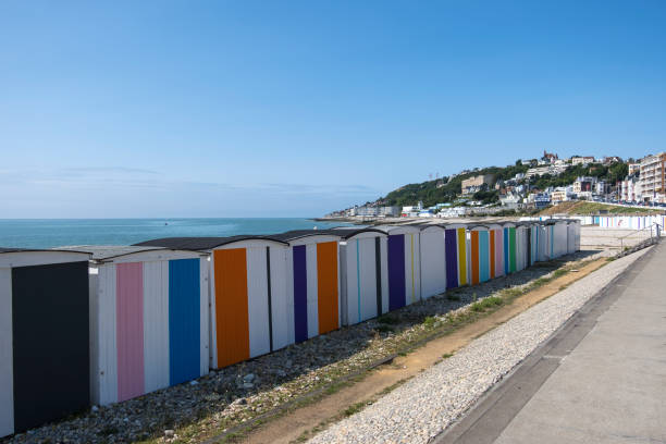 Colored Beach Cabins in Le Havre, Normandy, France Le Havre, France - August 20, 2018: Colored Beach Cabins in Le Havre. Normandy France le havre stock pictures, royalty-free photos & images