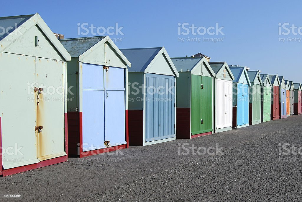 Colored beach huts at Brighton. East Sussex. England royalty-free stock photo