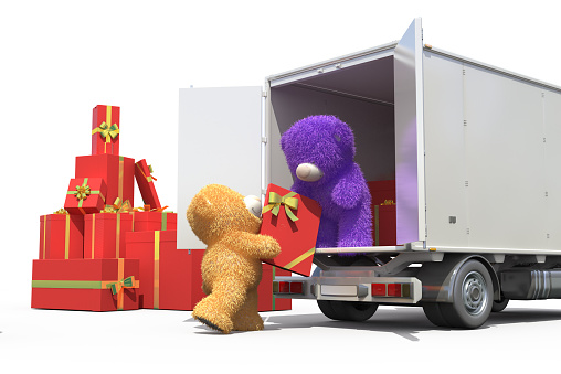 Teddy bears ship gifts in a truck