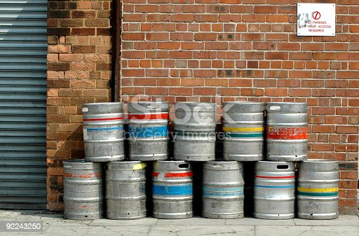 istock Colored beer barrel outside a pub 92243250