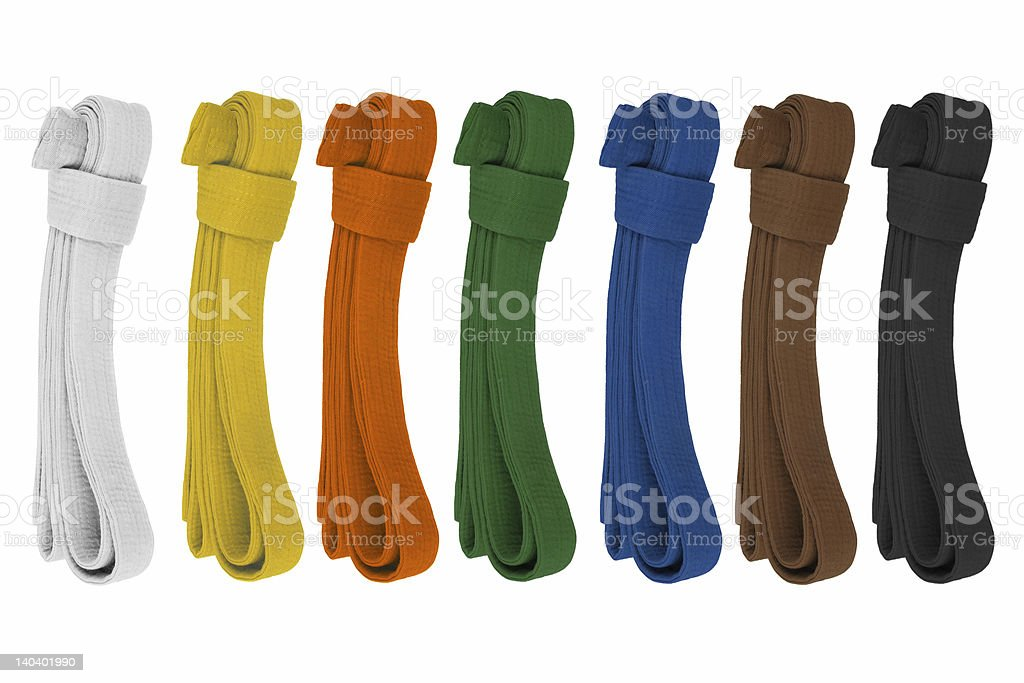 Colored belts stock photo