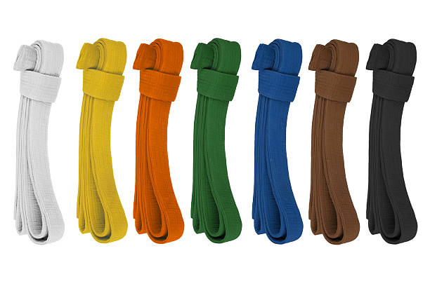 colored belts - belt stock photos and pictures