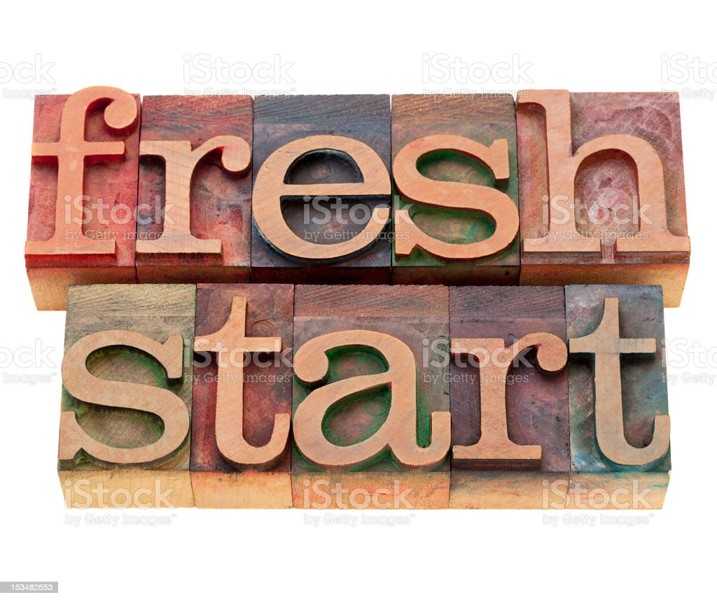 Colored blocks with lower case letters spelling fresh start royalty-free stock photo