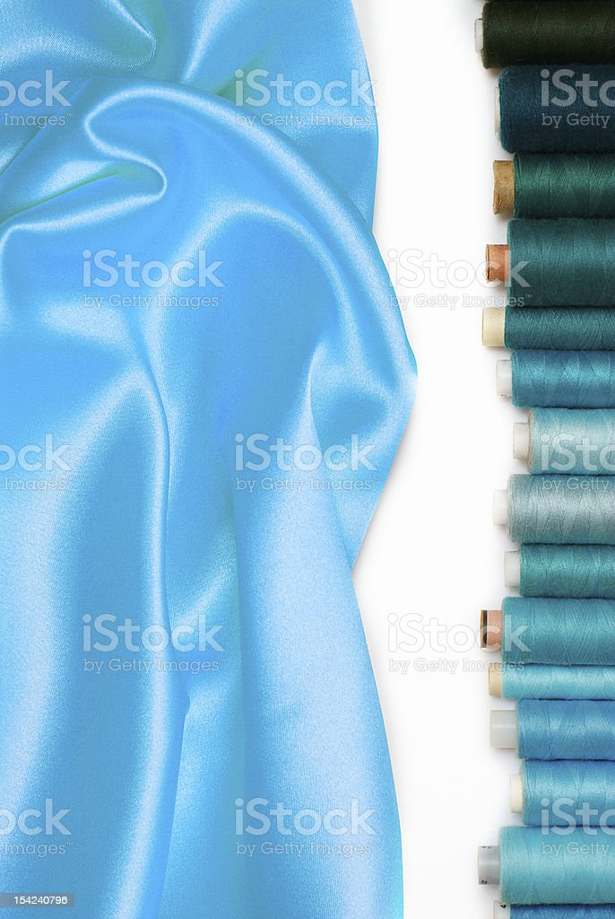 colored bobbins and silk royalty-free stock photo