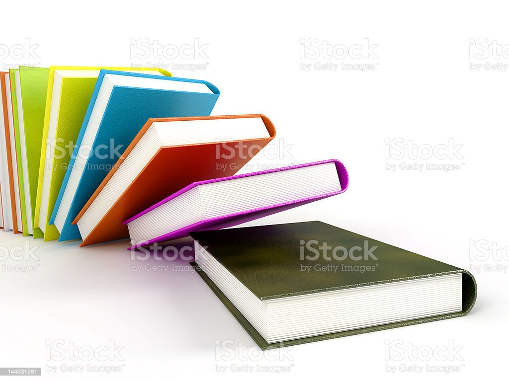 colored books isolated on glossy white stock photo