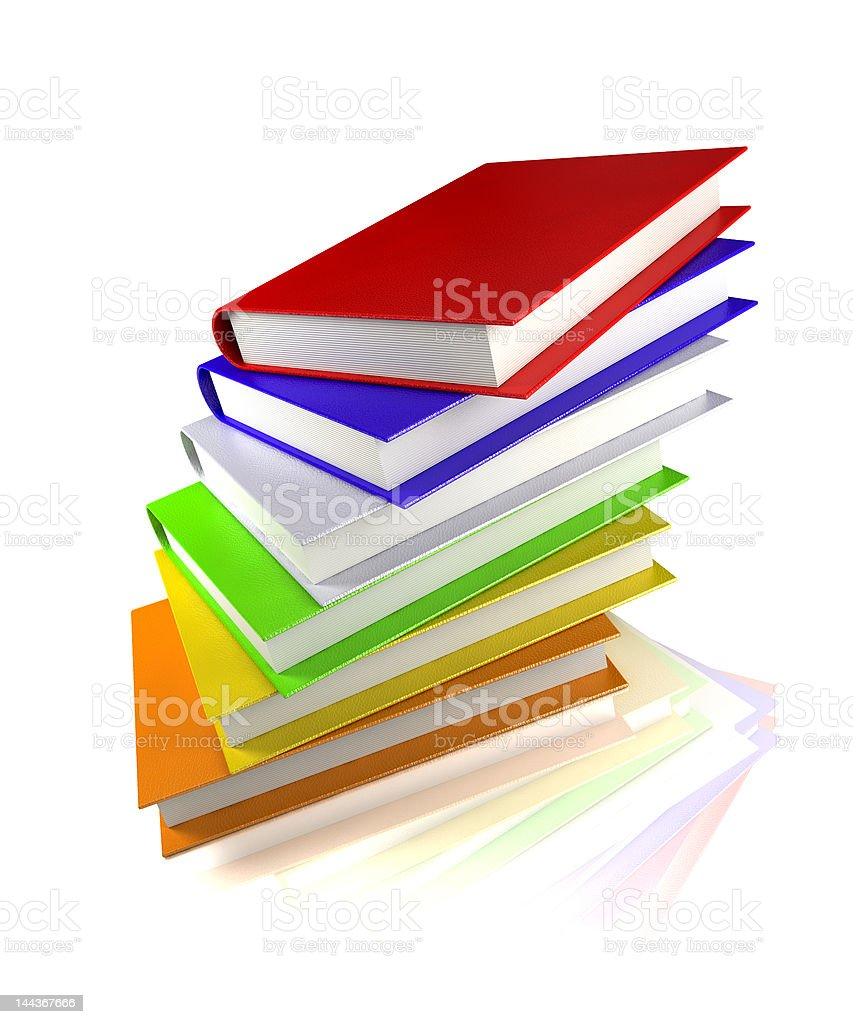 colored books isolated on glossy white royalty-free stock photo