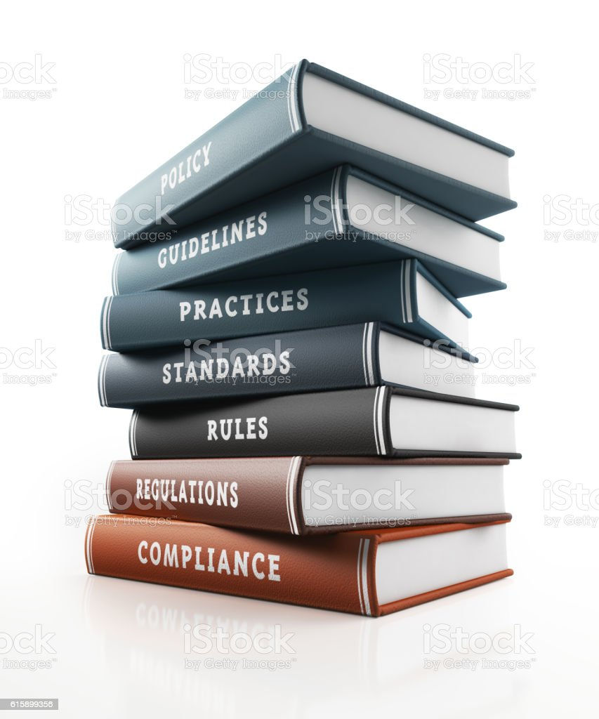 Colored Books of Compliance, Rules and Regulations stock photo