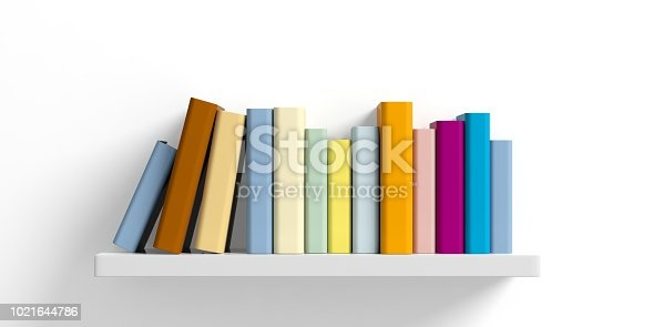 Education concept. Books on a shelf on white background. 3d illustration