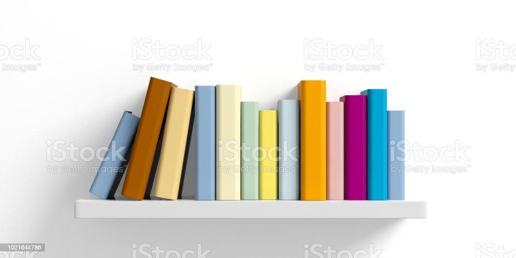 Farbige Bücher in einem Regal auf weißem Hintergrund. 3D illustration – Foto