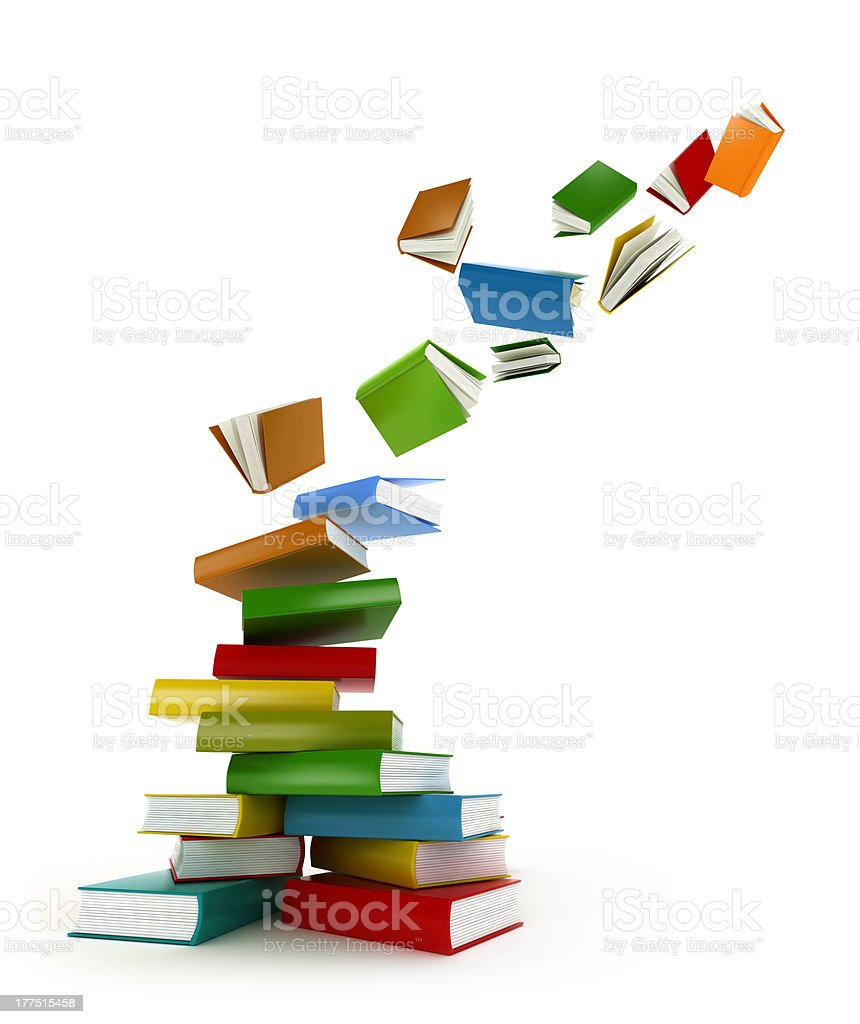 Colored books with clear cover falling away stock photo