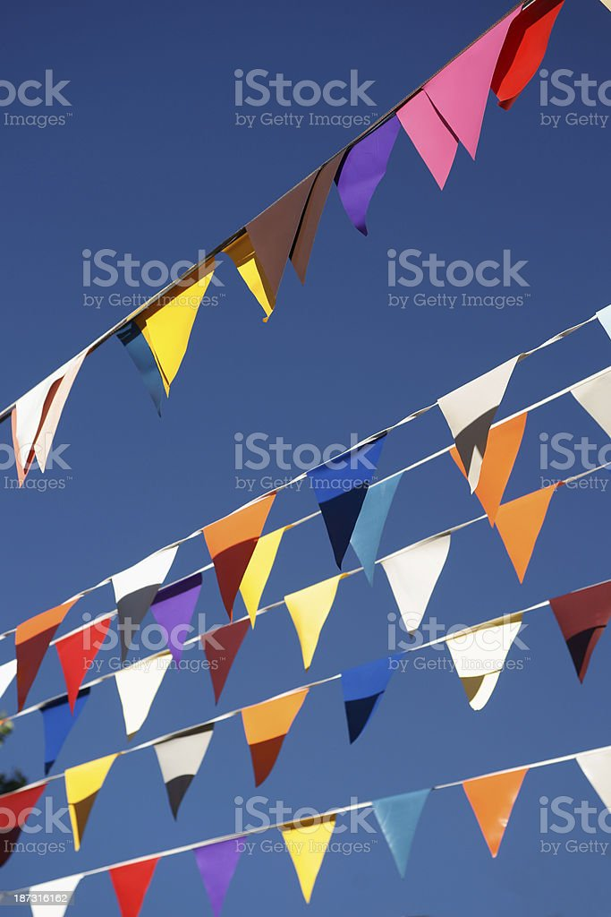 colored bunting flags stock photo