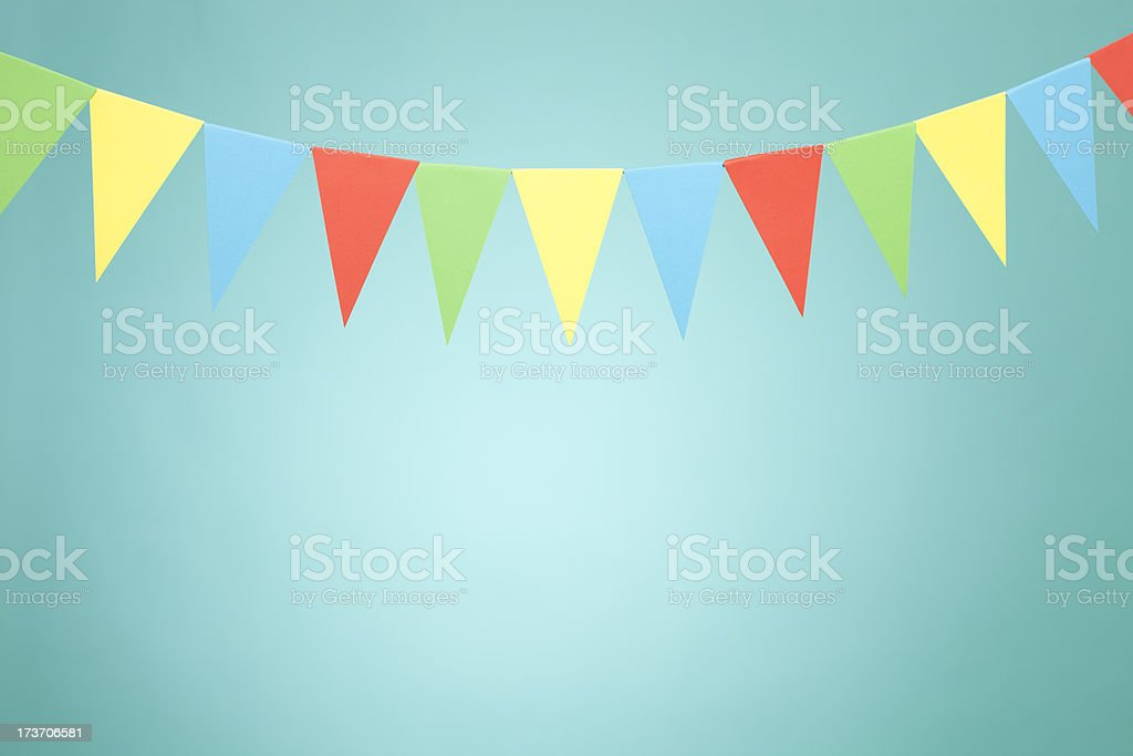 Colored buntings with copy space stock photo