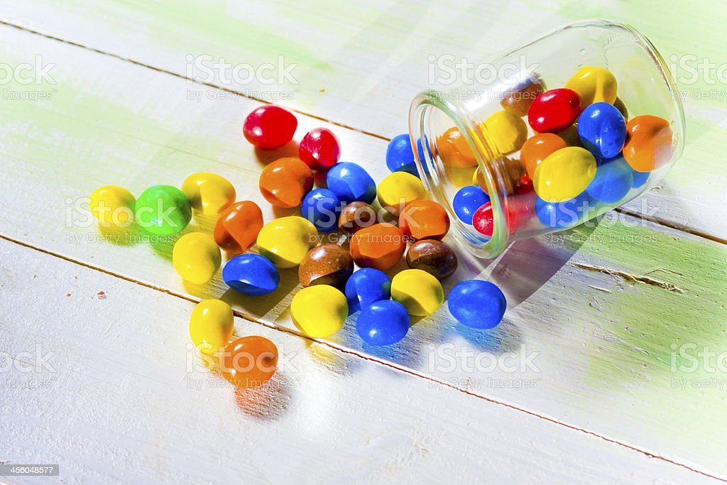 colored candy in glass jar royalty-free stock photo
